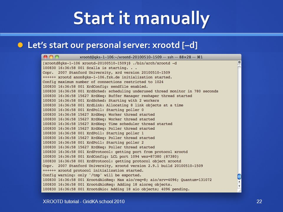 Start it manually Let's start our personal server: xrootd [–d]